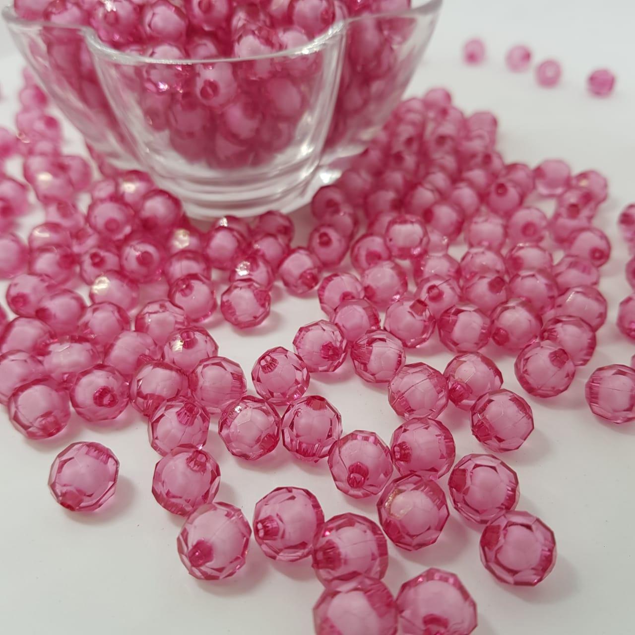 Bolinha de acrilico rosa forte c/ miolo branco sextavado  8MM 25g