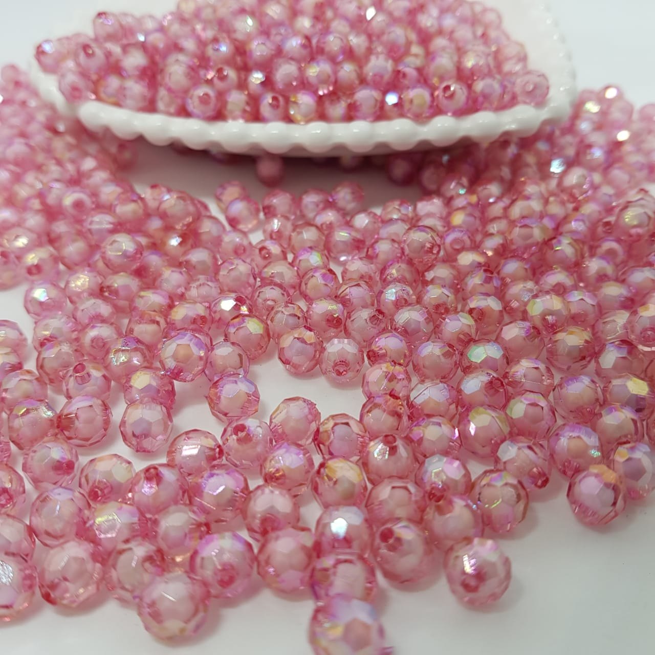 Bolinha de acrilico rosa furta cor sextavado  8MM 25g