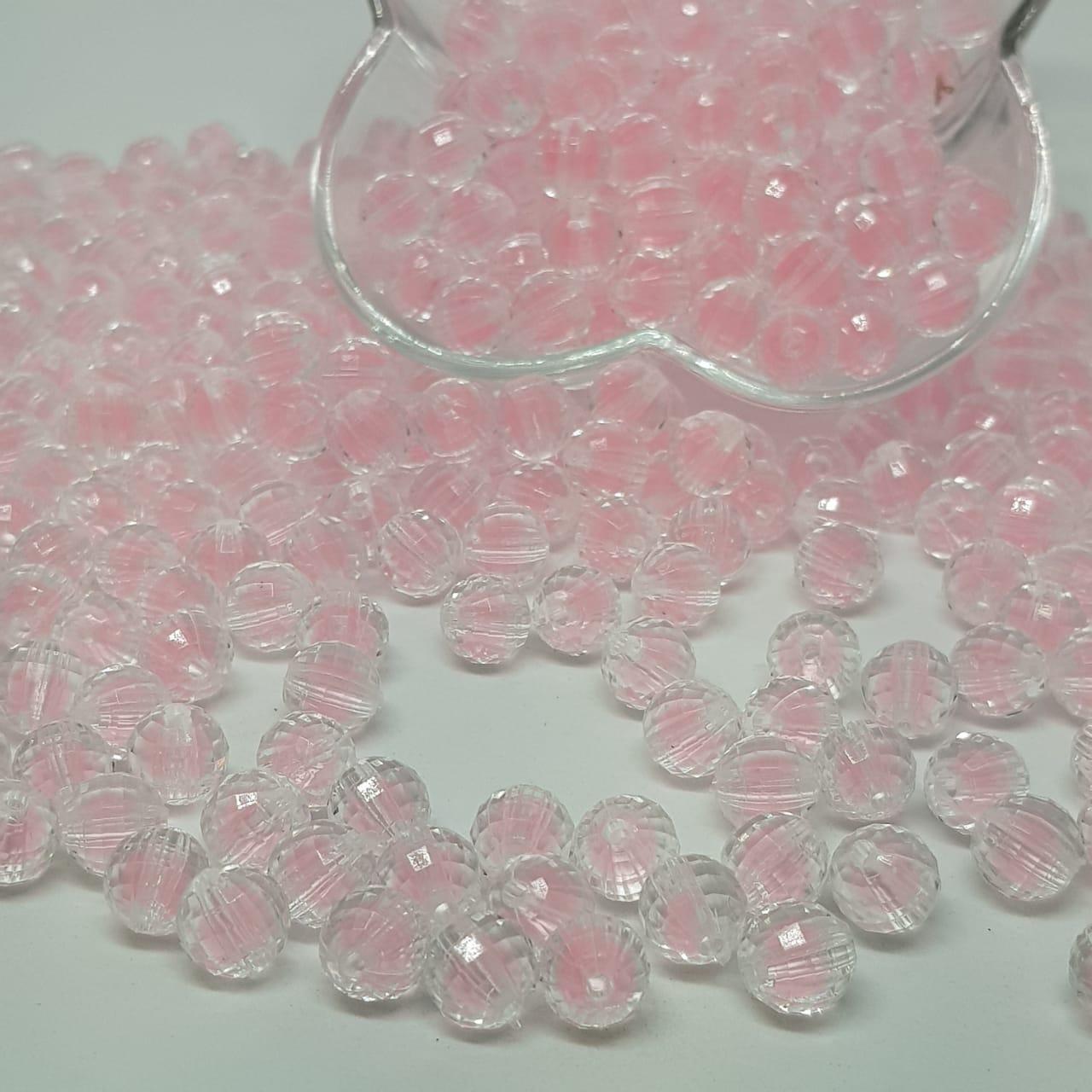 Bolinha de acrilico  transparente com miolo rosa bebê facetado  10MM 25g