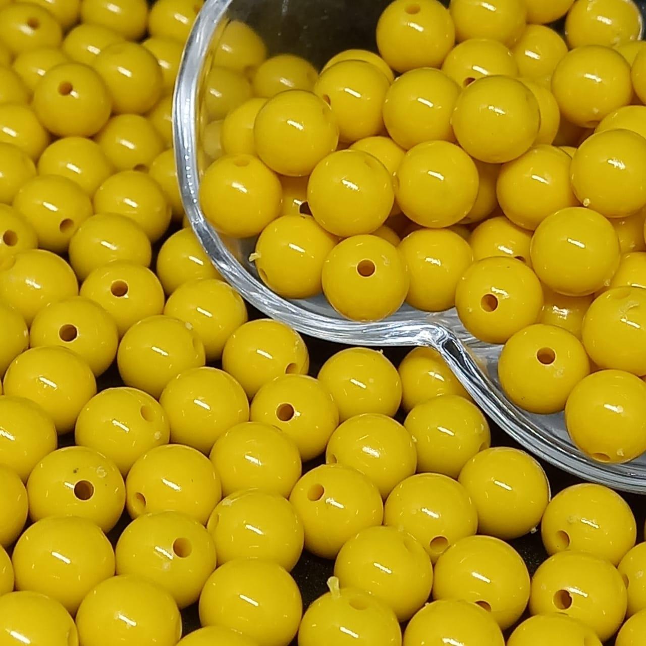 Bolinha de plástico amarela - 25g 10mm