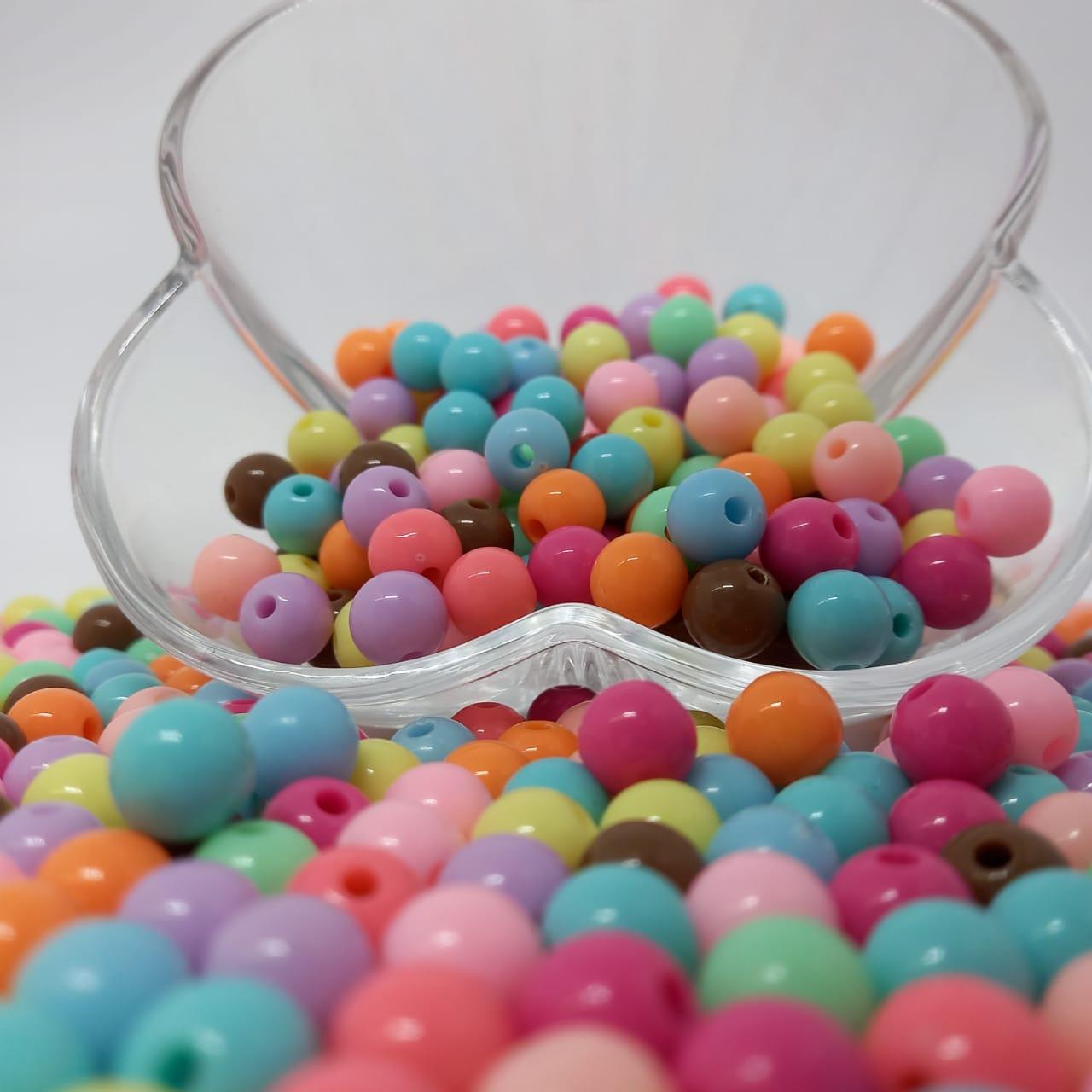 Bolinha de plástico colorida  - 25g 8mm