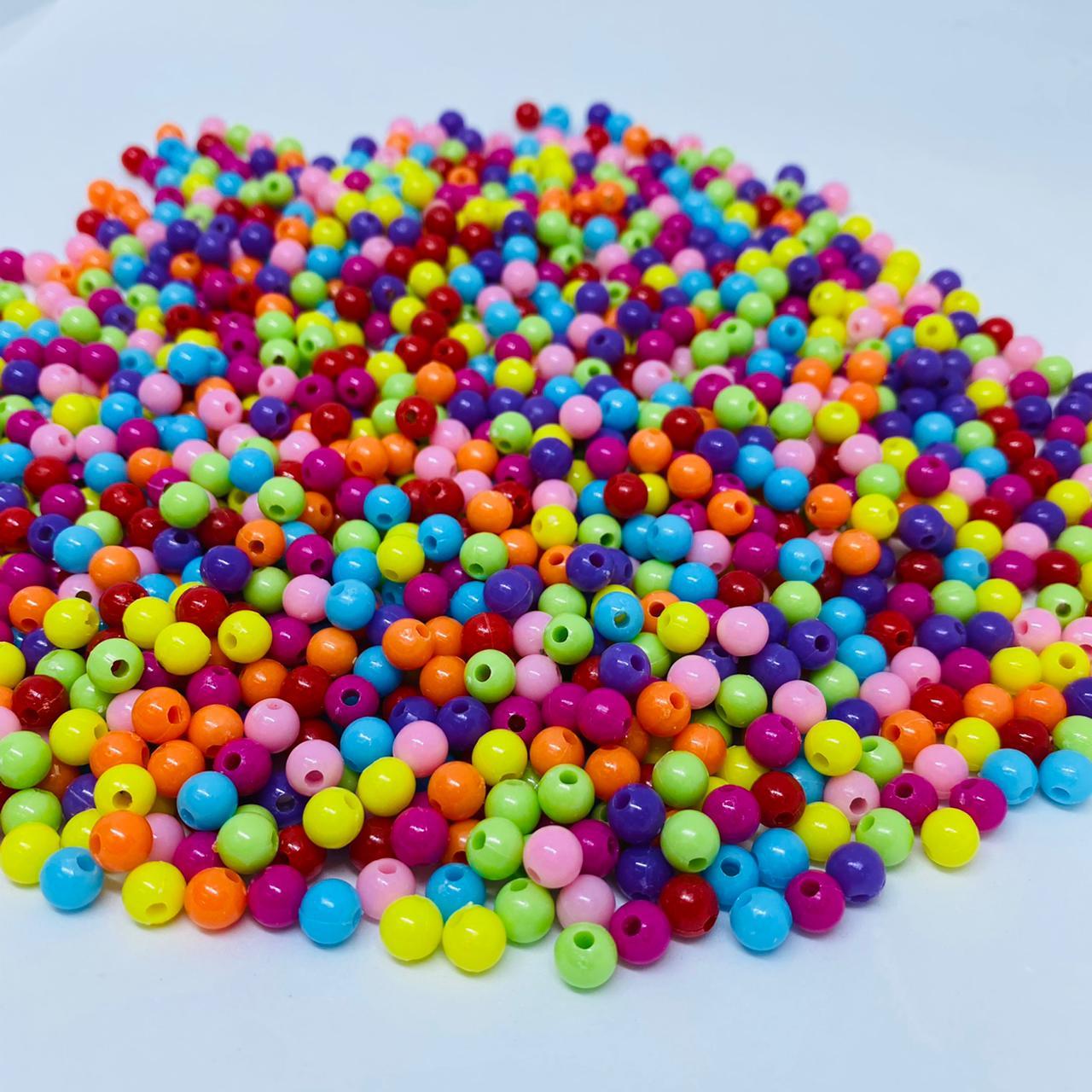 Bolinha de plastico multicolor  6mm 25 gr  - Palácio Dos Cristais