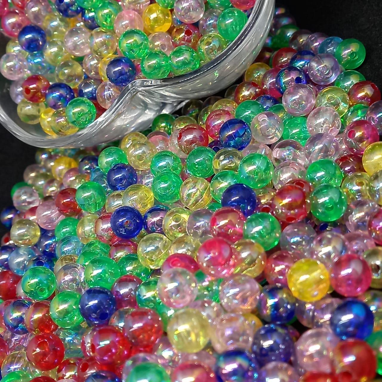 Bolinha de plástico perolada multicolor furta cor - 25g 8mm (5689)
