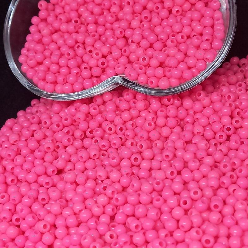 Bolinha de plástico pink neon  - 25g 4mm
