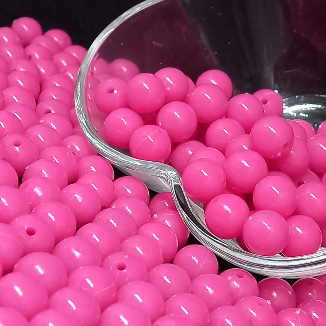 Bolinha de plástico rosa pink - 25g 10mm