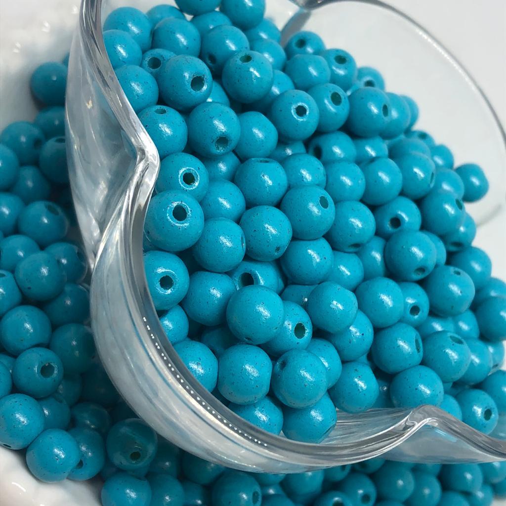 Bolinha de vidro 8mm azul turquesa