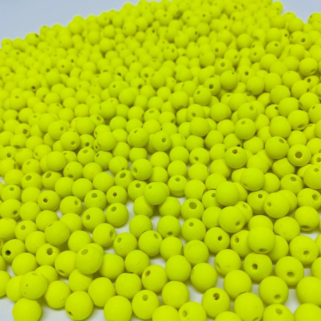 Bolinha de vidro 8mm fosca amarelo