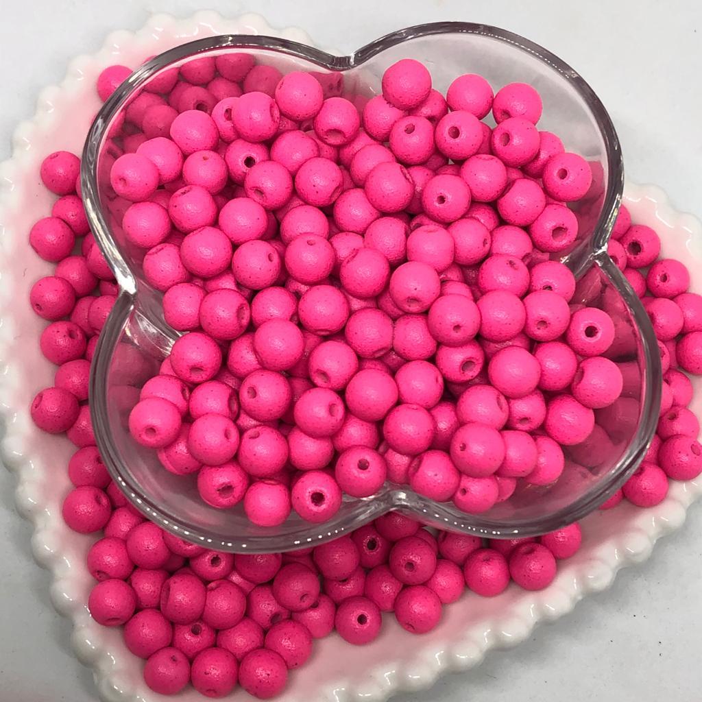 Bolinha de vidro 8mm fosca rosa