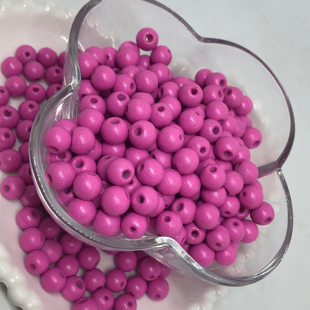 Bolinha de vidro 8mm fosca rosa taffy