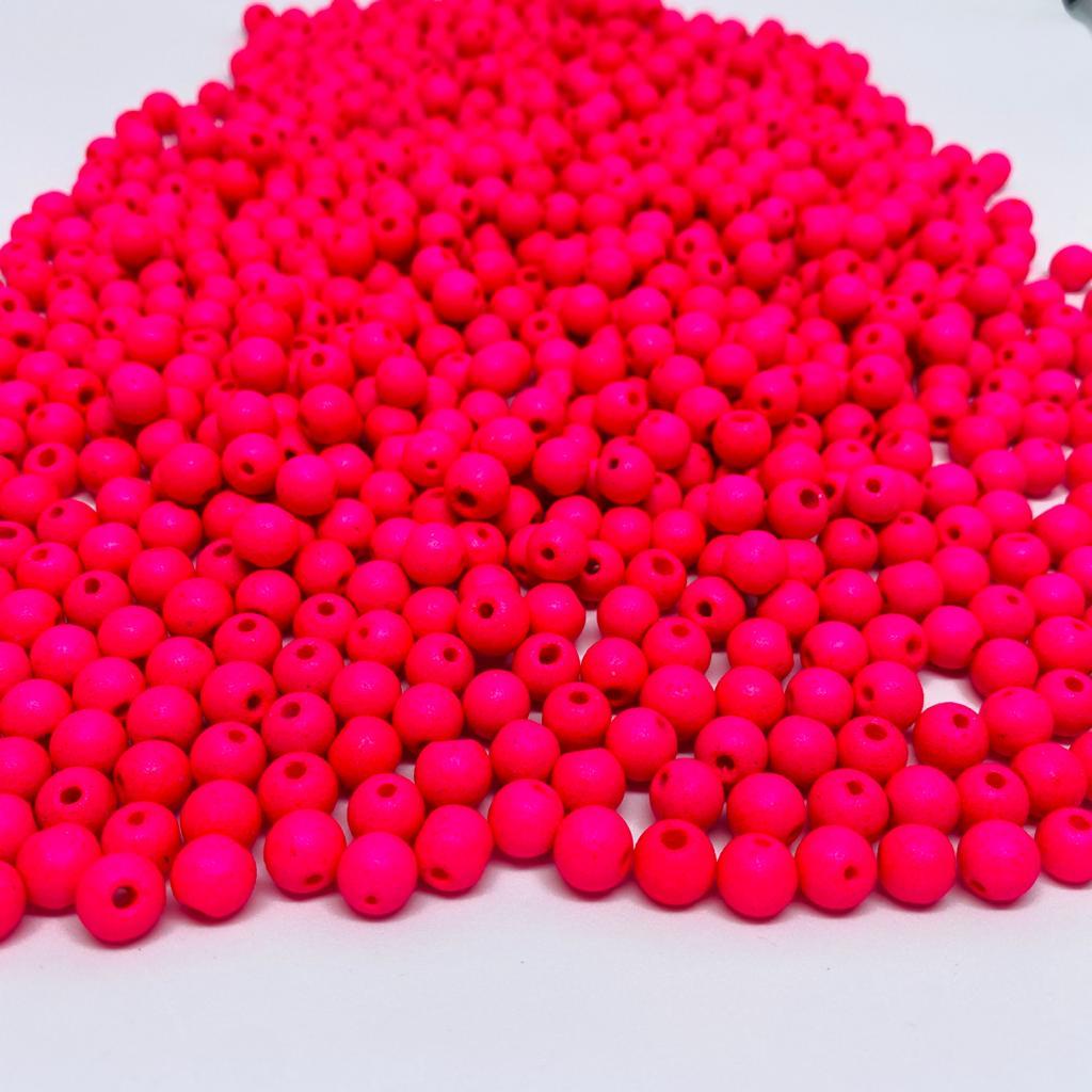 Bolinha de vidro 8mm fosca rosa turquesa  - Palácio Dos Cristais