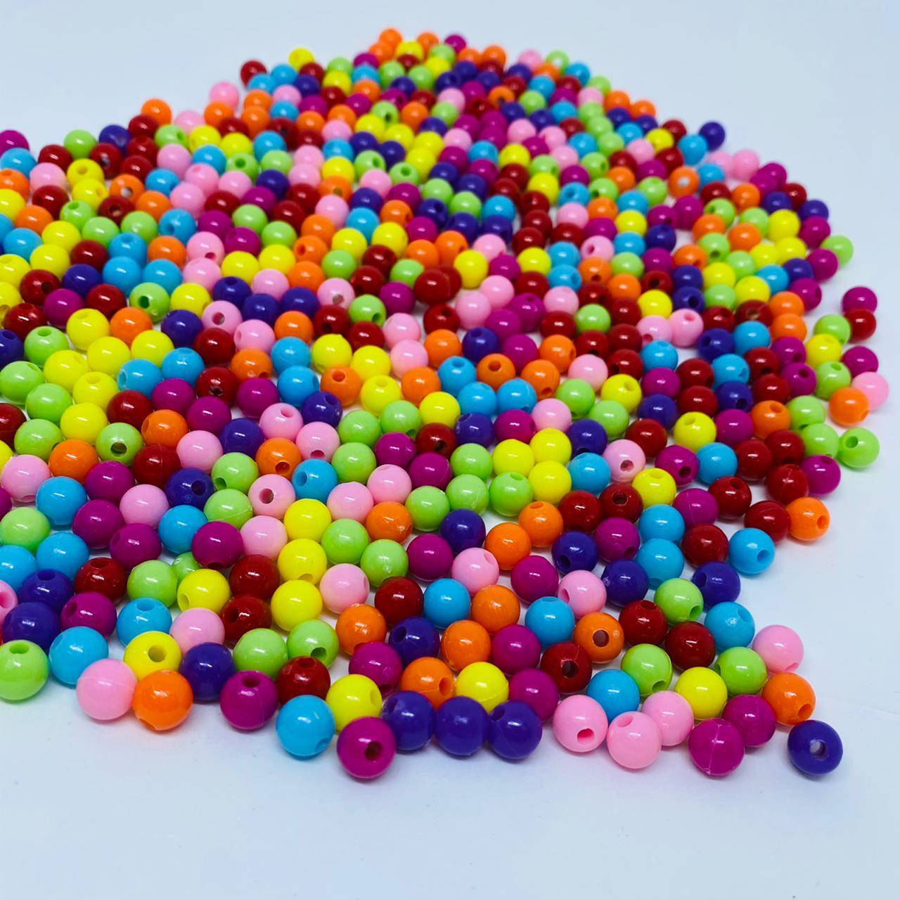 Bolinha de plastico multicolor neon 8mm 25 gr  - Palácio Dos Cristais