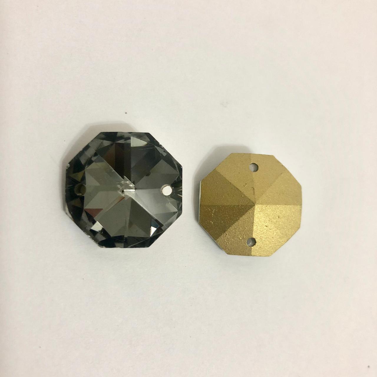 Castanha de Cristal  Lapidado Pingente 2 furos (20mm)
