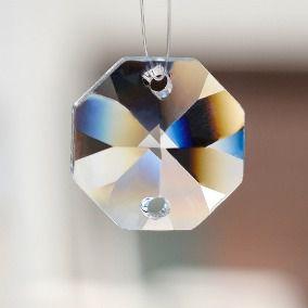 Castanha de Cristal  Lapidado Pingente(2 furos) c/100un