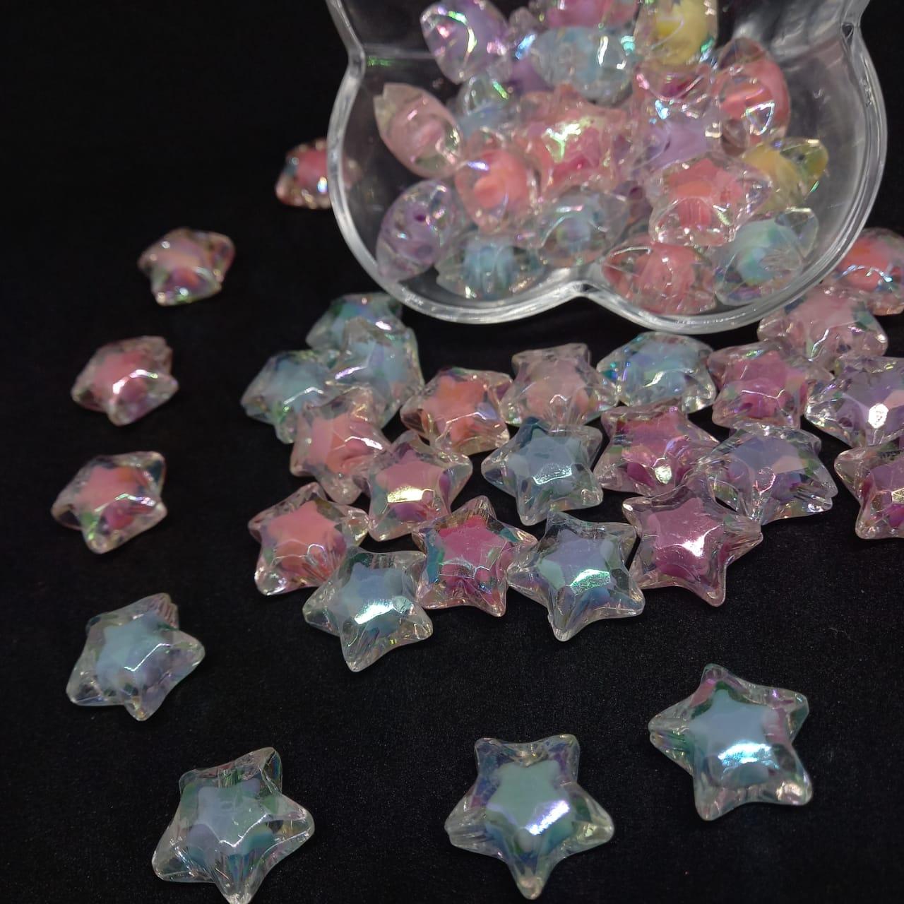 Conta Acrílico Estrela multicolor- 20mm 5 peças
