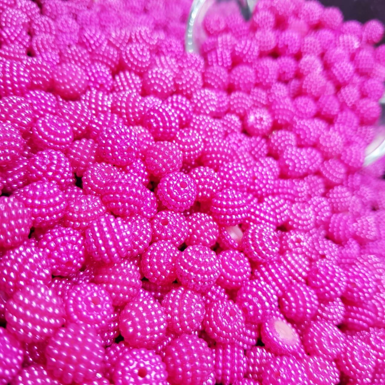 Contas de perola craquelada rosa pink 8mm - 25g
