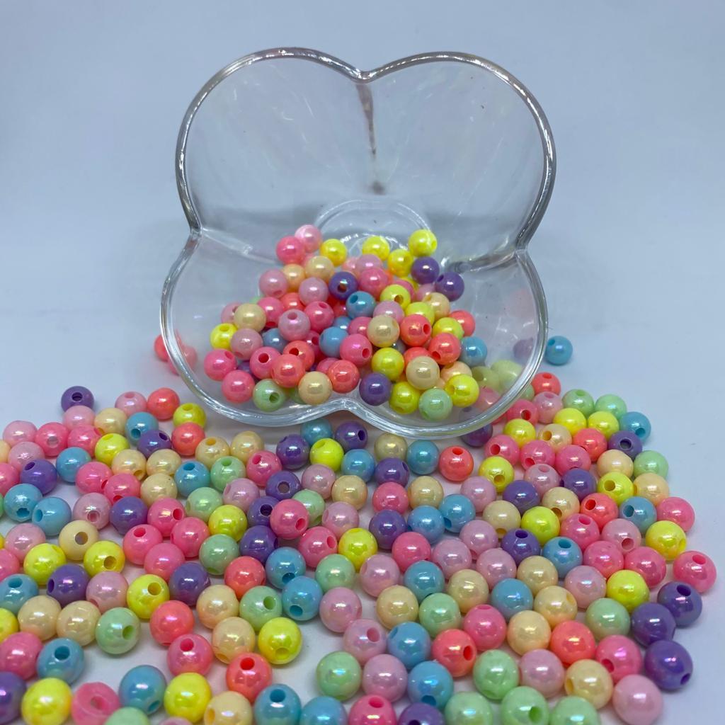 Contas de plástico perolada multicolor 8mm 25g