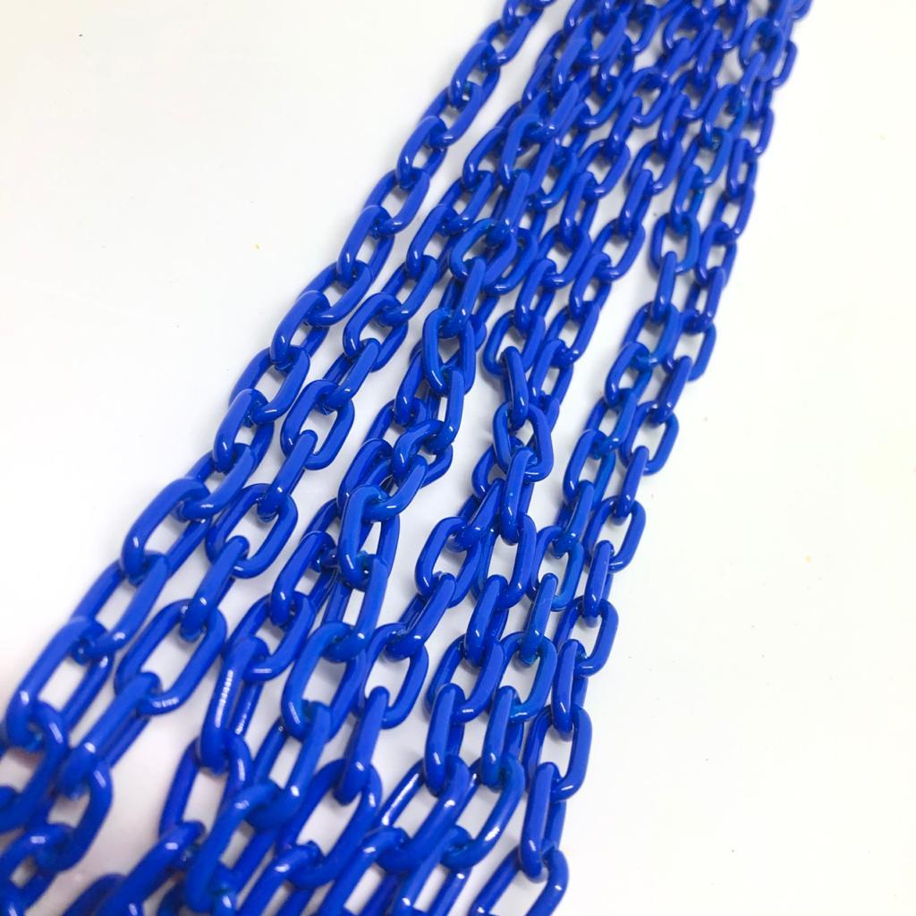 Corrente cadeado mini azul caneta 12x7mm  - 1 Metro