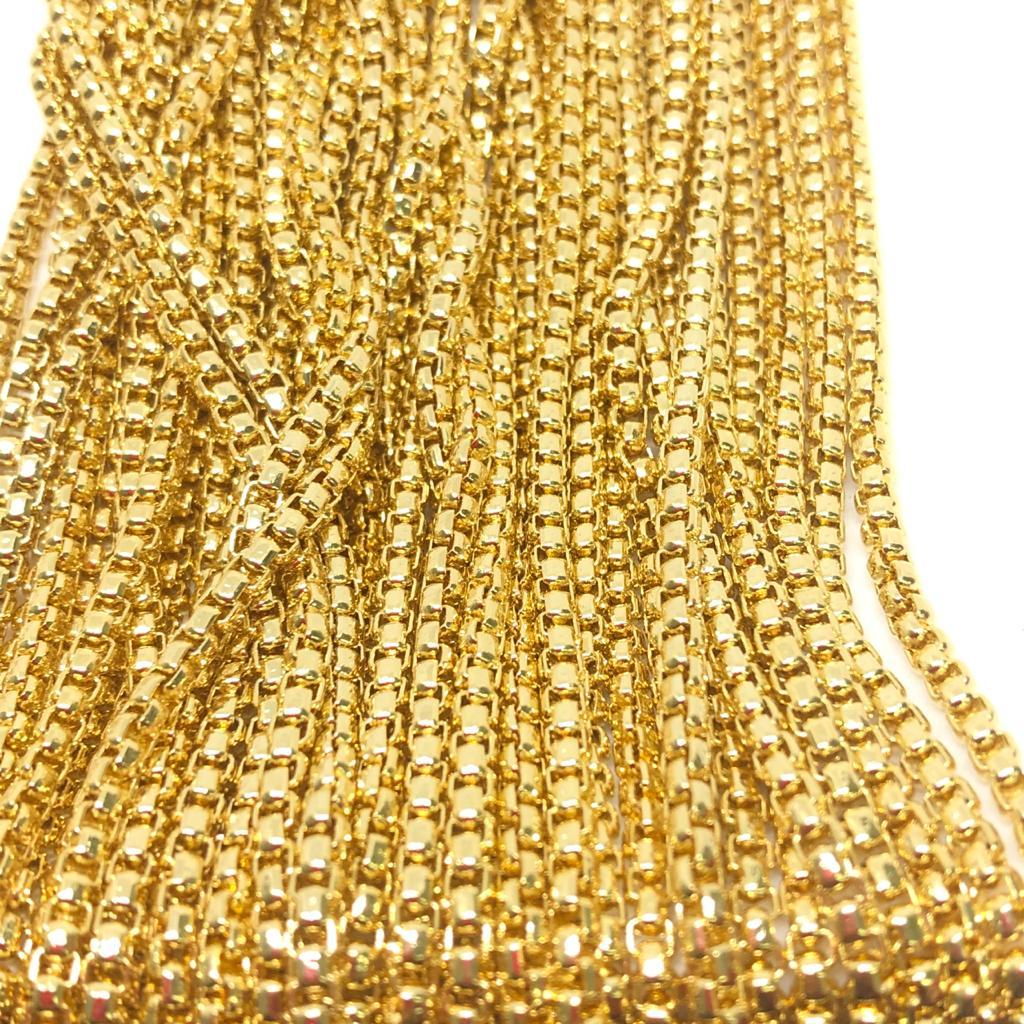 Corrente dourada 2x2mm (Cód acc 537)  - 1 Metro