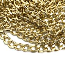 Corrente grumet lixada dourada 10x6mm (Cód 2.0)  - 1 Metro Ñ