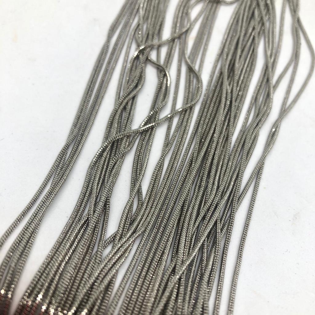 Corrente rabo de rato na cor niquel (COD 662) 1mm - 1 Metro  - Palácio Dos Cristais