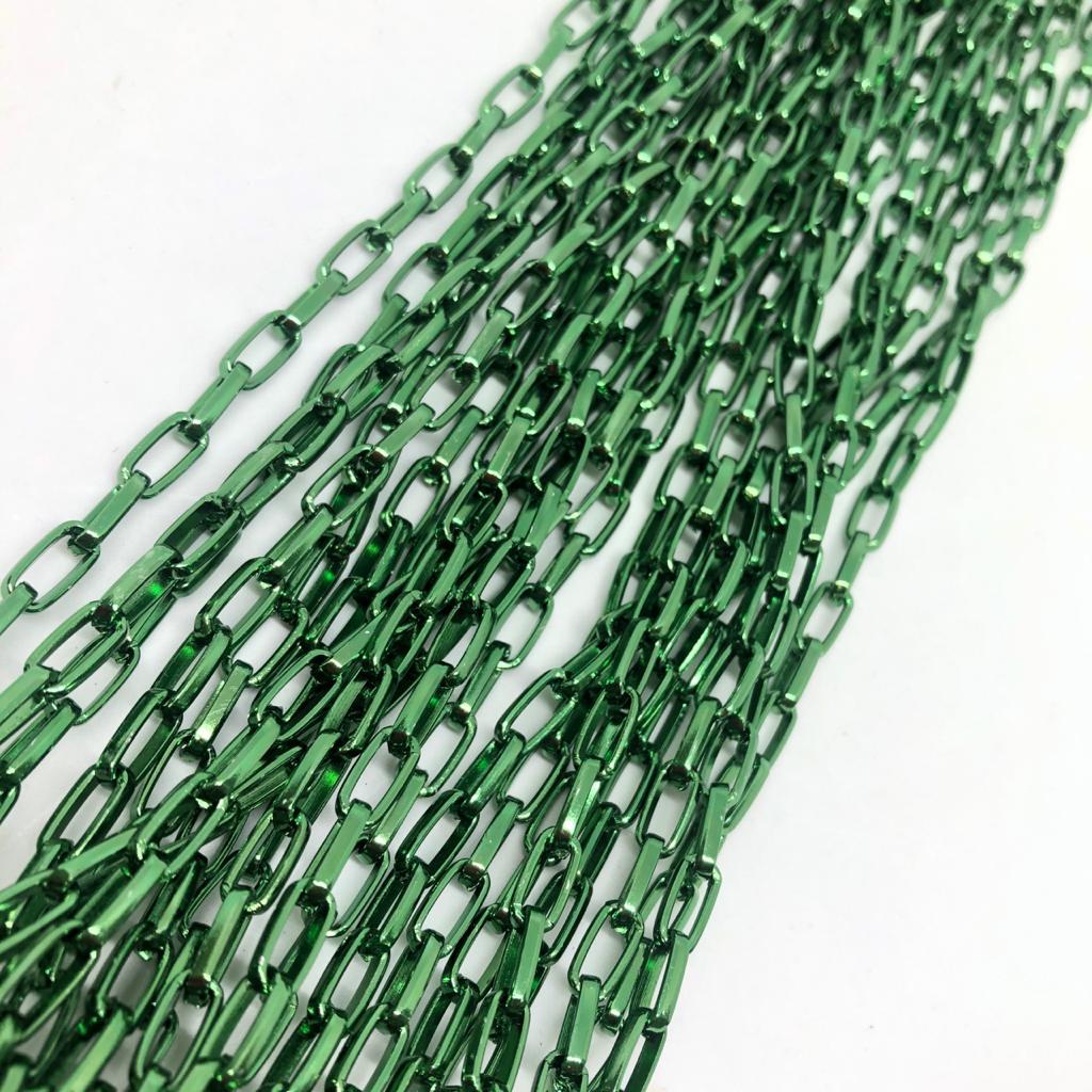 Corrente verde metalizado 10x5mm  - 1 Metro