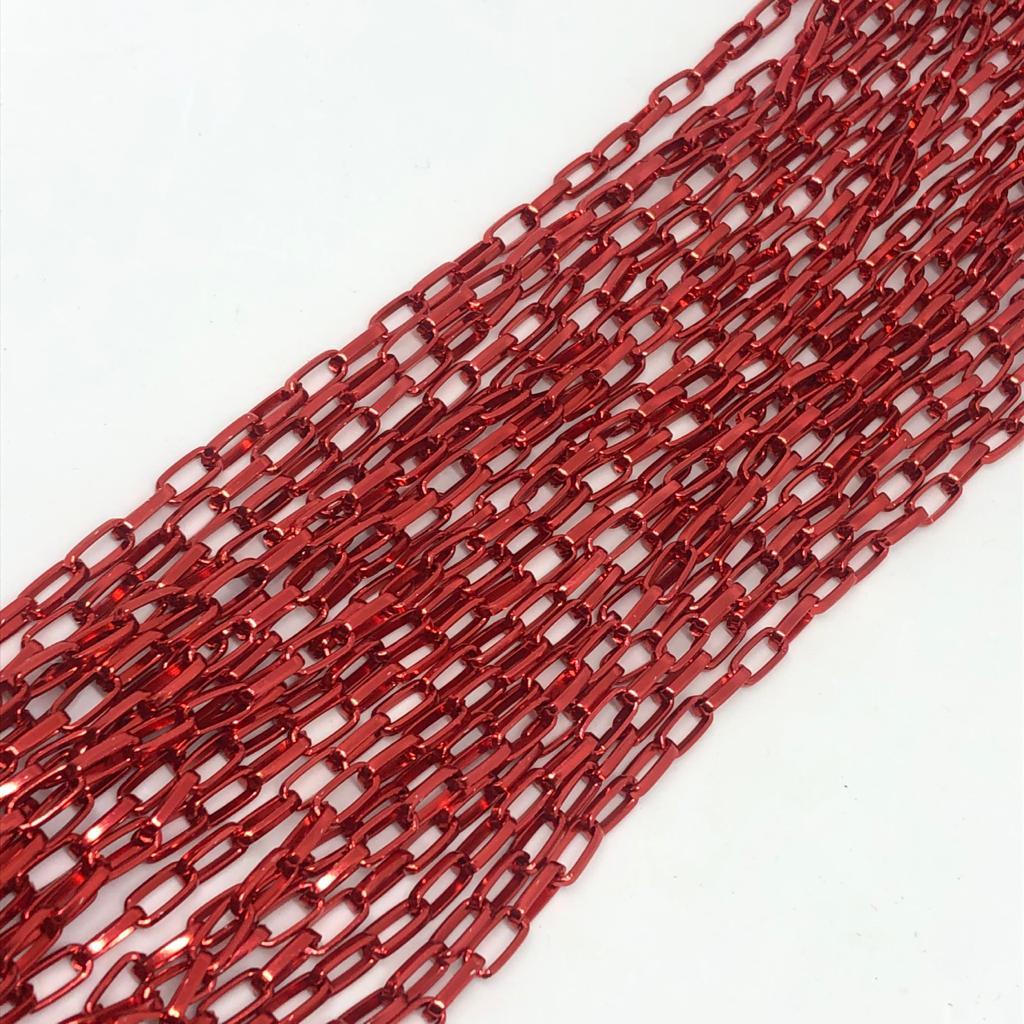 Corrente vermelho metalizado 10x5mm  - 1 Metro