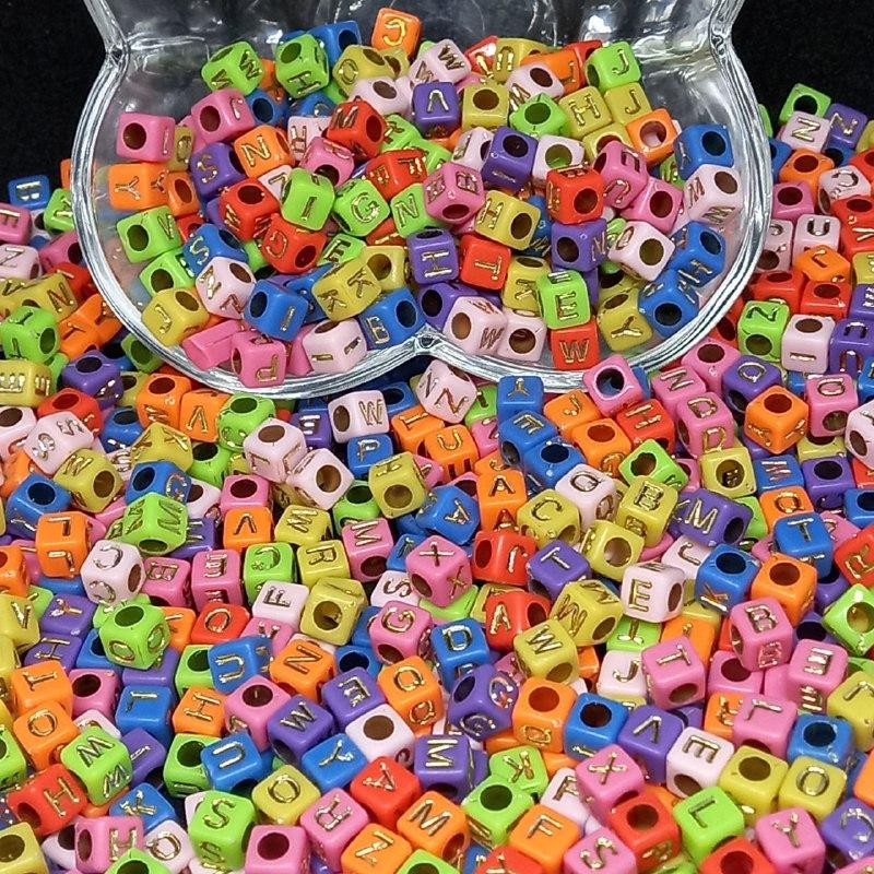 Cubo multicolor c/ letras douradas - 25g 6mm