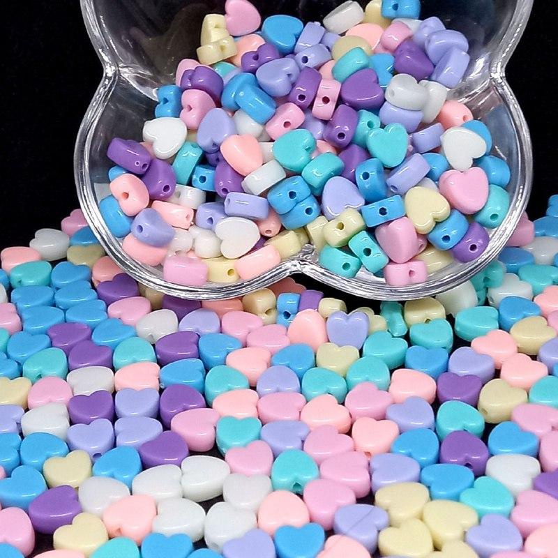 Entremeio coração multicolor pastel 25g 8mm