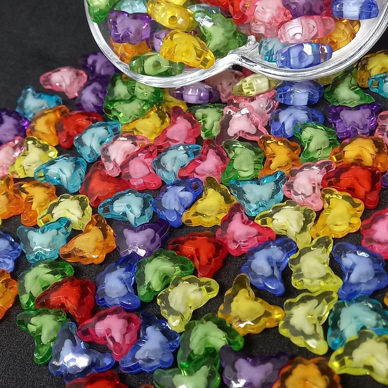Entremeio de borboleta multicolor com miolo branco  25g 11x15mm