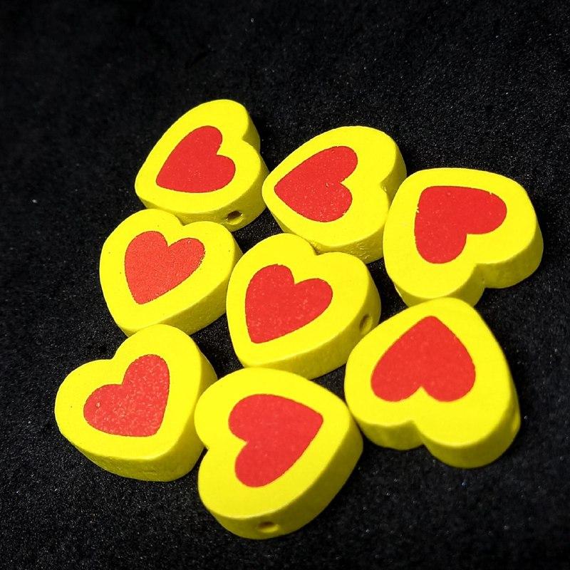 Entremeio de coração amarelo c/ vermelho 16x18mm / unidade