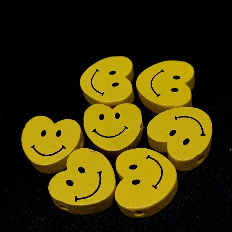 Entremeio de coração feliz amarelo 16x17mm / unidade