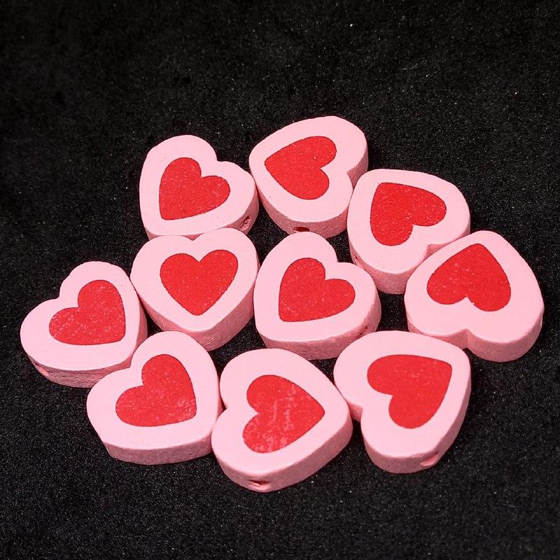 Entremeio de coração rosa c/ vermelho 16x18mm / unidade