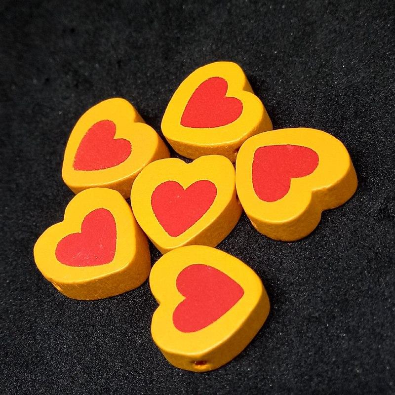 Entremeio de coração laranja c/ vermelho 16x18mm / unidade