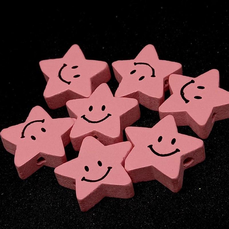 Entremeio de estrela feliz rosa 18x19mm / unidade