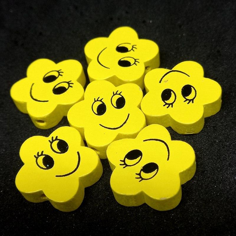 Entremeio de estrelinha feliz amarela 19mm / unidade