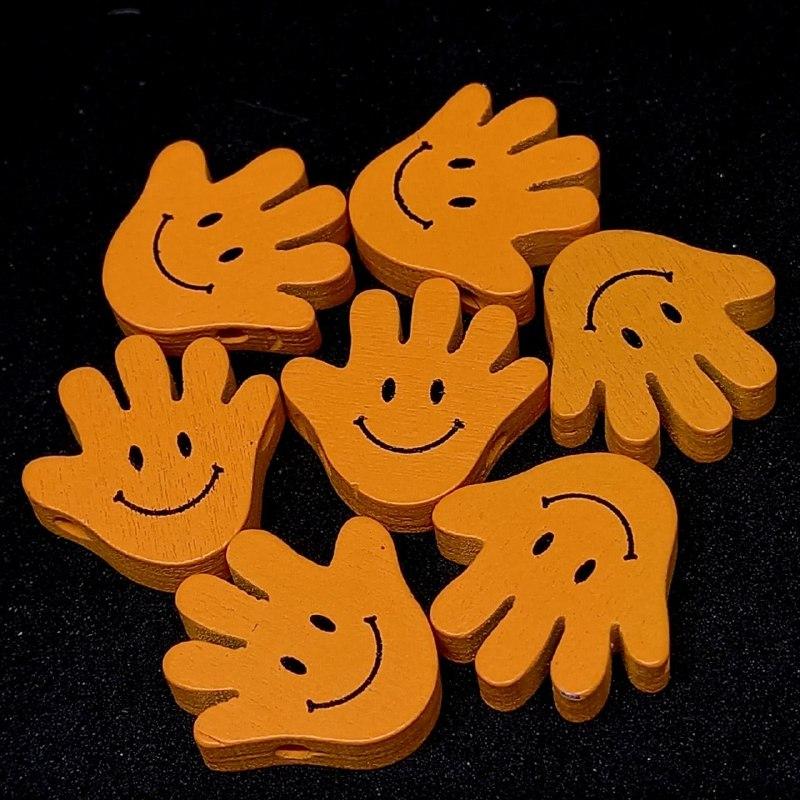 Entremeio de mãozinha feliz laranja  19mm / unidade