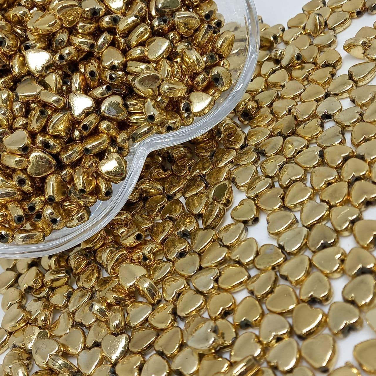 Entremeio mini coração dourado 25g - 6mm