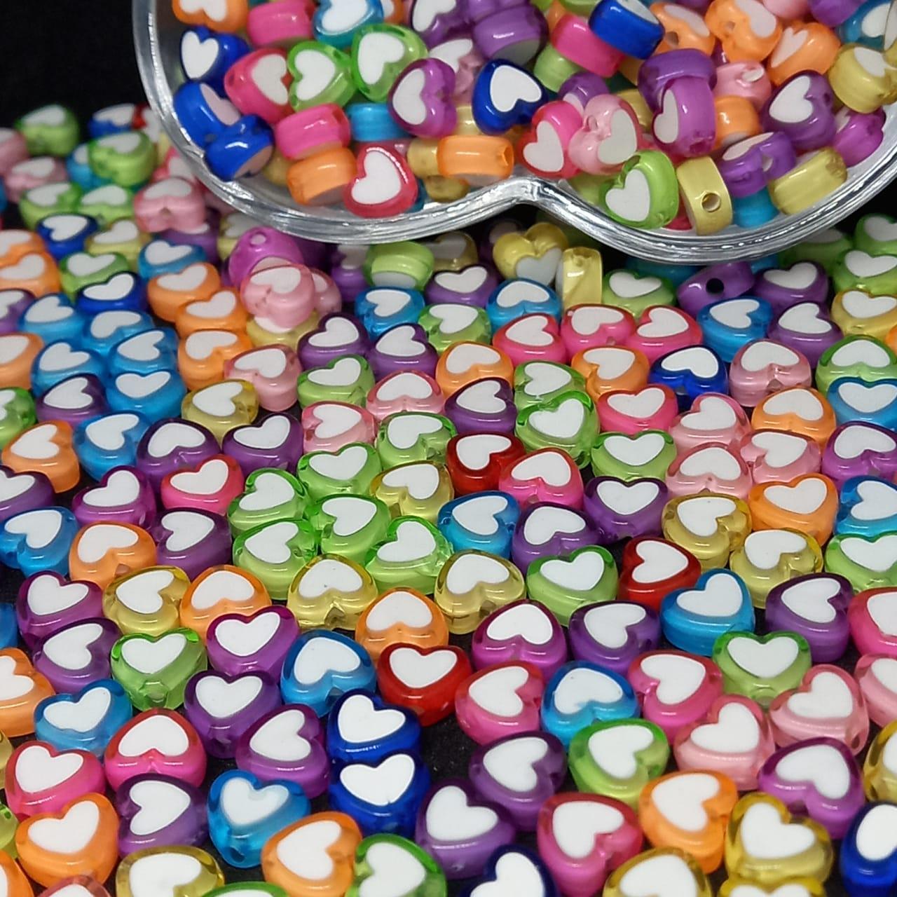 Entremeio  multicolor c/ coração branco  10g 7mm