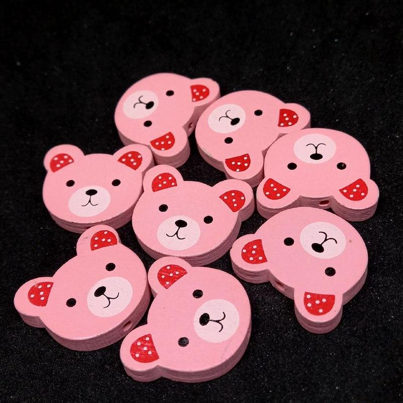Entremeio rosto de ursinho rosa   c/ vermelho 21x24mm /unidade