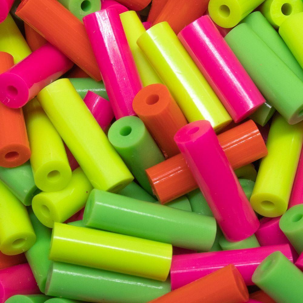 Fecho em plástico pvc 6x20mm colorido neon 10 unidades