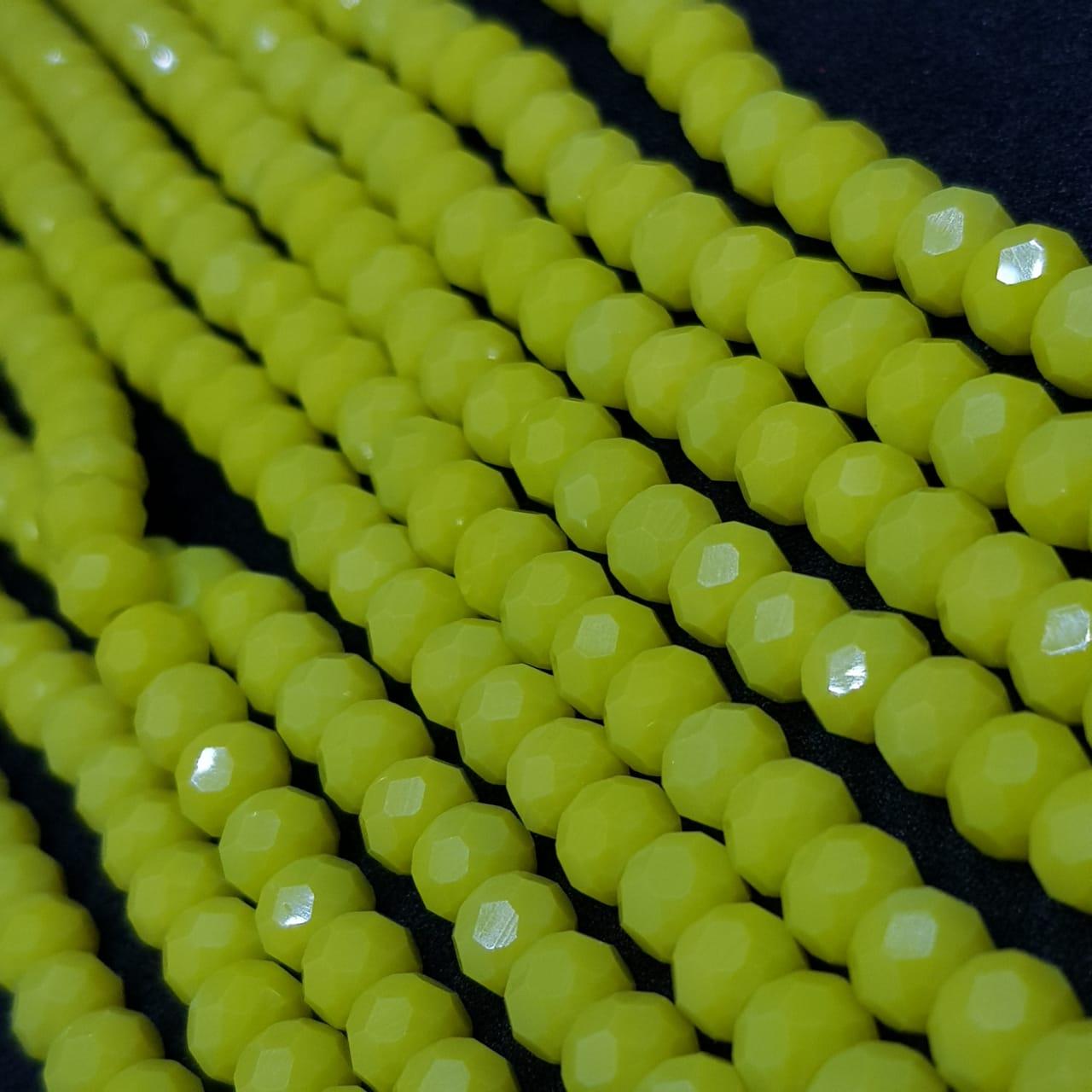 Fio de cristal chinês amarelo 6mm leitoso