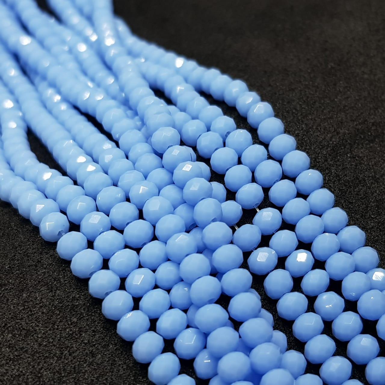Fio de cristal chinês azul bebê  4mm leitoso