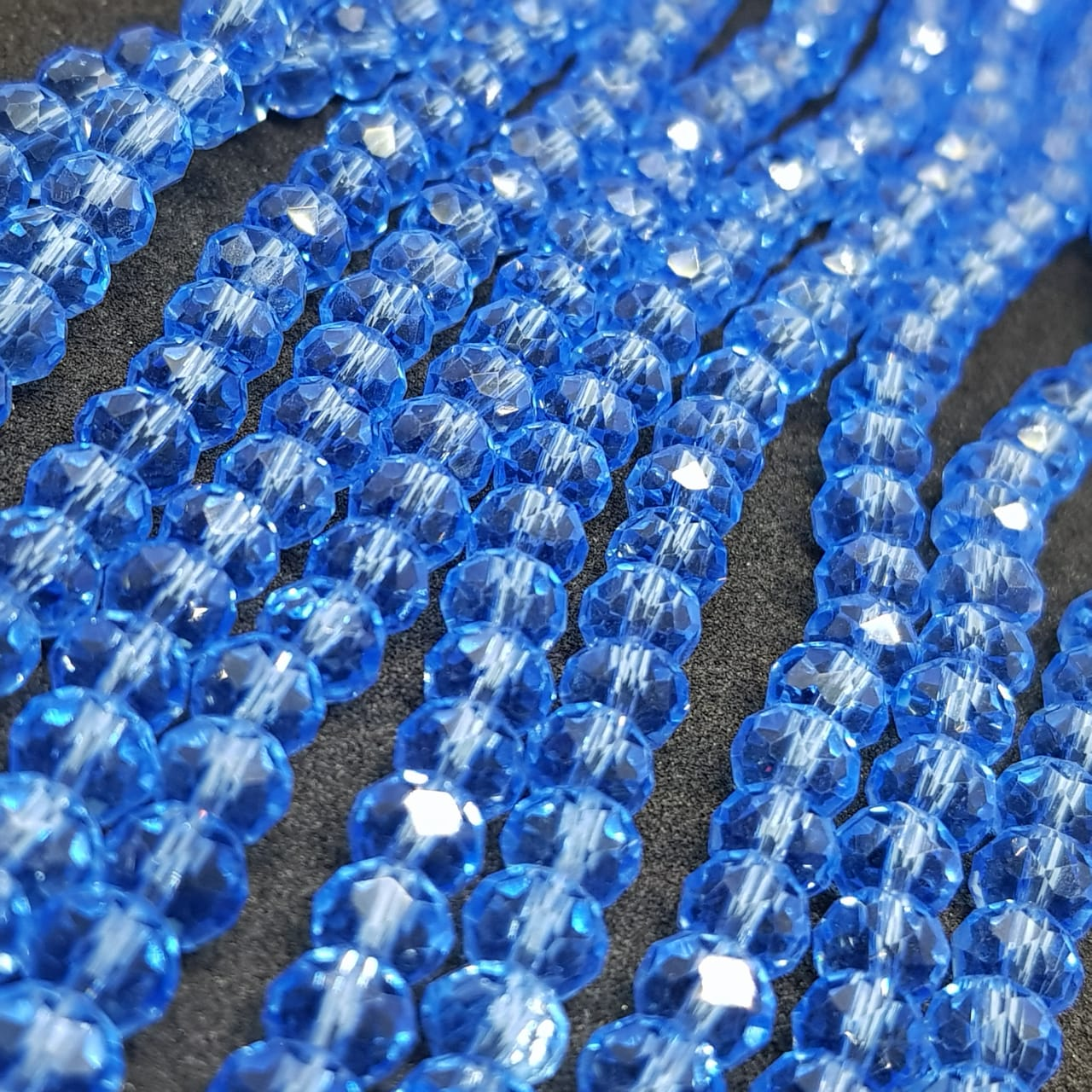 Fio de cristal chinês azul escuro  6mm lustroso