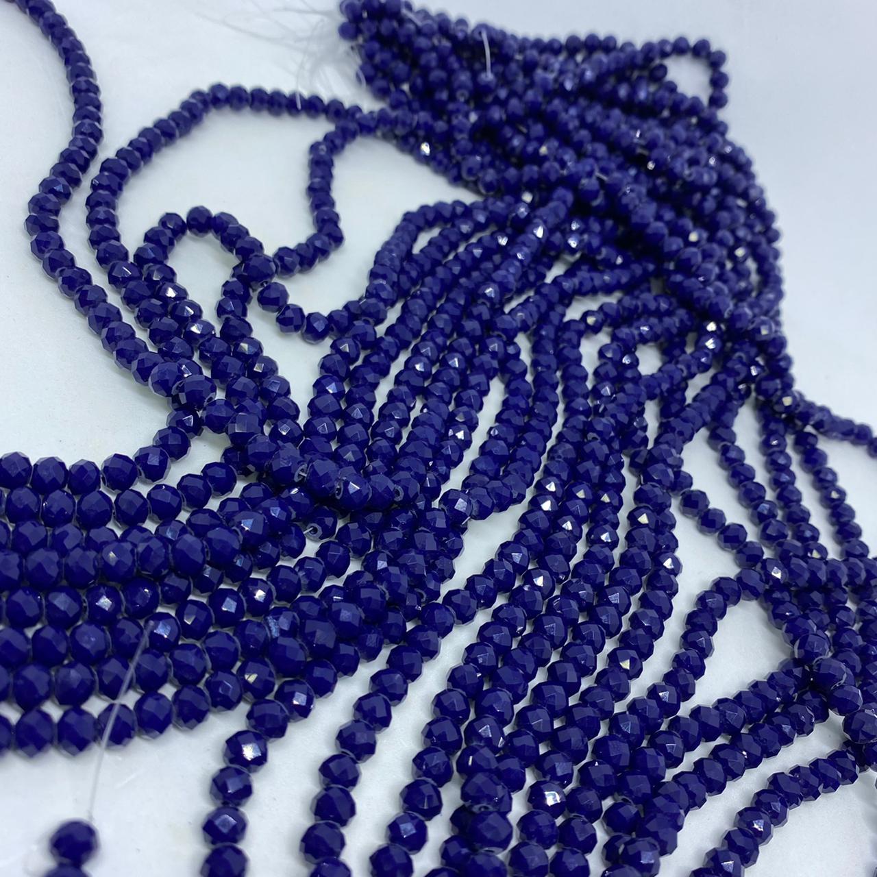 Fio de cristal chinês azul marinho leitoso  6mm