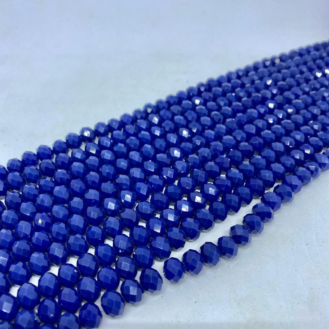 Fio de cristal chinês azul marinho leitoso  8mm