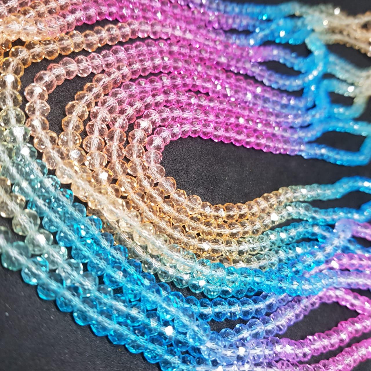Fio de cristal chinês multicolor (rosa,lilás,azul,dourado)  6mm lustroso 5539