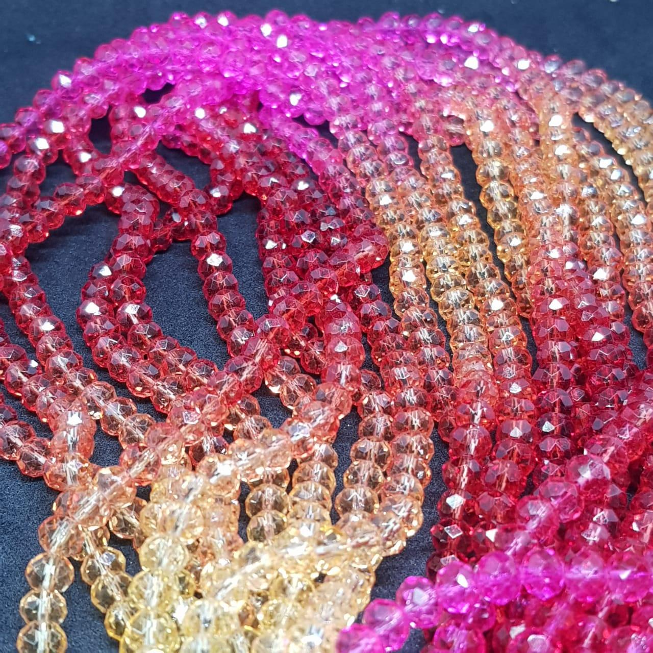 Fio de cristal chinês multicolor (vermelho,rosa,dourado)  6mm lustroso 5537