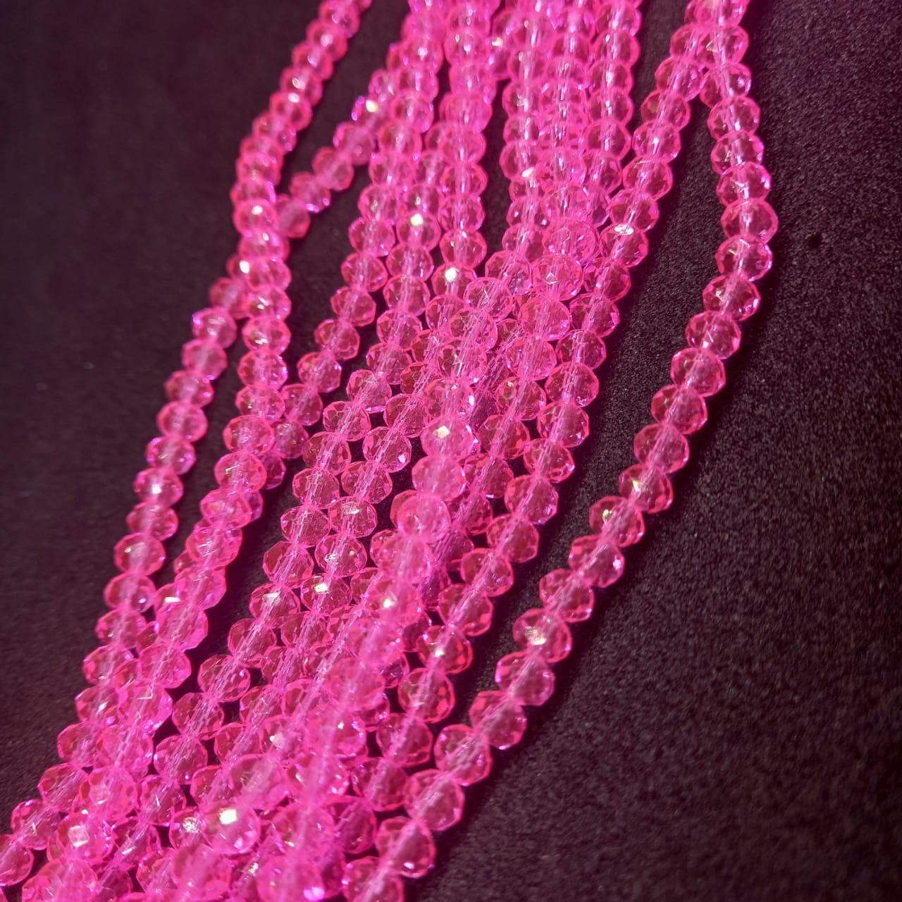Fio de cristal chinês rosa  4mm lustroso