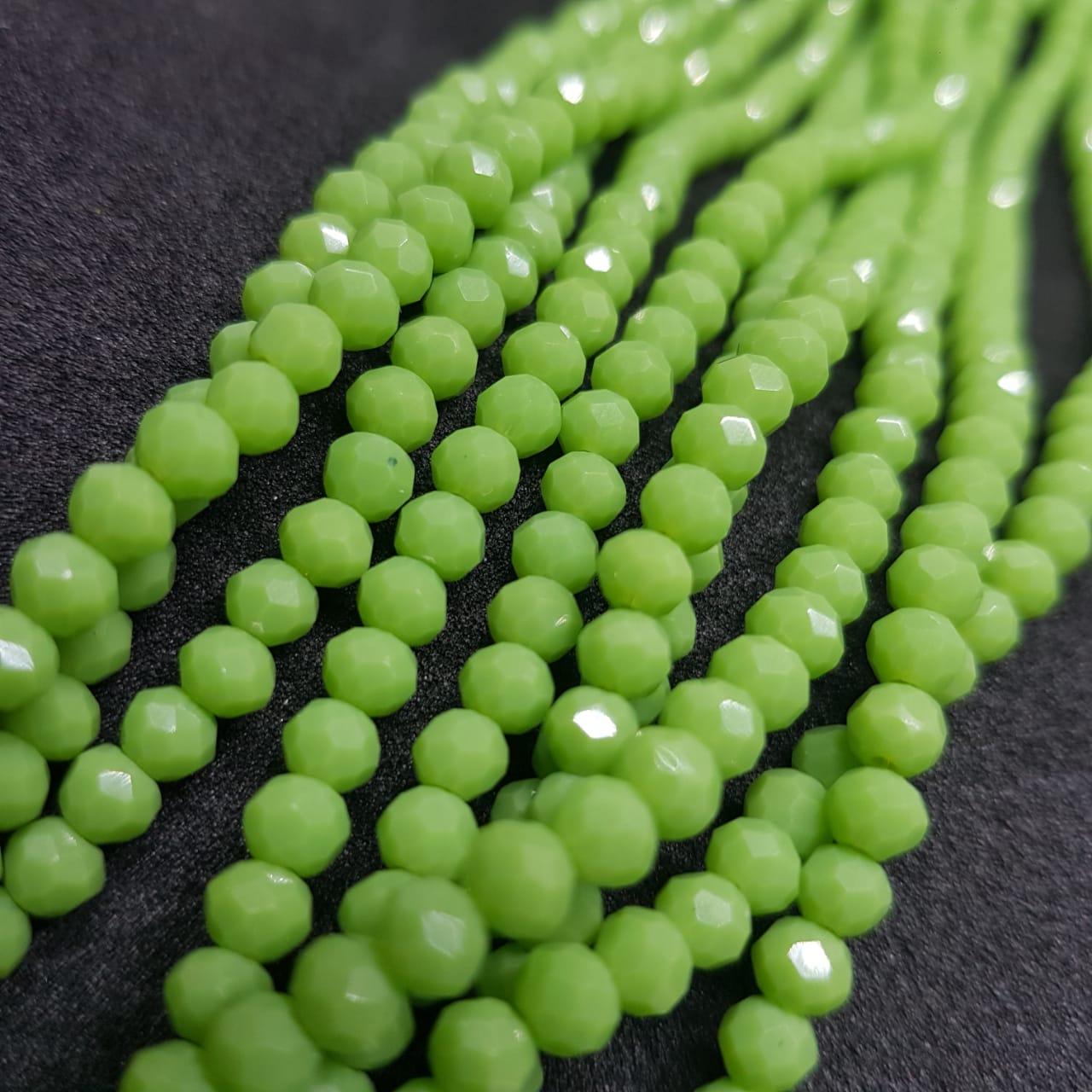Fio de cristal chinês verde 4mm  leitoso