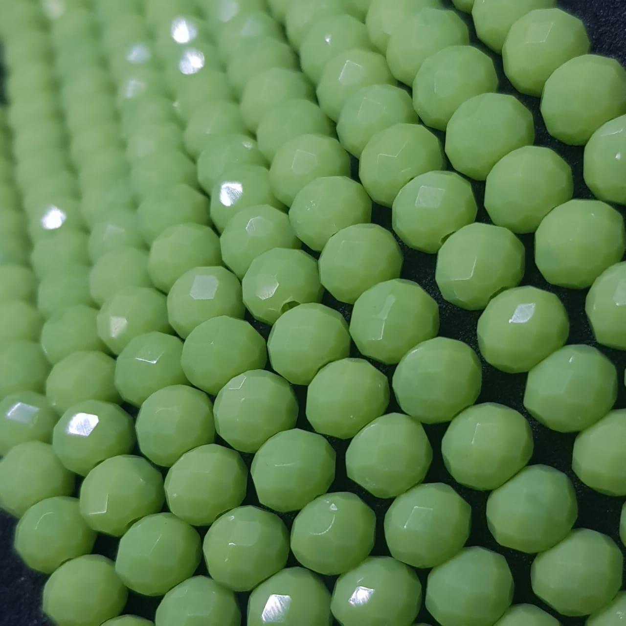 Fio de cristal chinês verde 6mm  leitoso